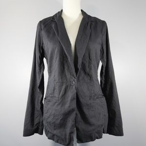 Eileen Fisher 1-Button Charcoal Linen Blazer - 10